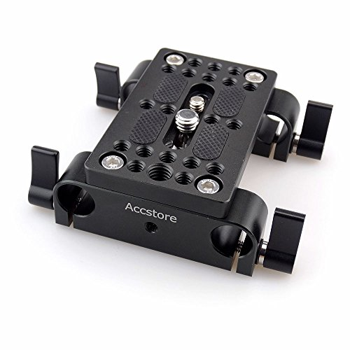 ACCSTORE Camera Quick Release Mounting Plate Tripod Mounting Plate with 15mm Rod Clamp Railblock For DSLR Camera Cage Rig 15mm Rod Rail Support System by ACCSTORE