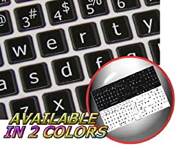 MAC ENGLISH LARGE LETTERING (LOWER CASE) KEYBOARD STICKERS ON BLACK BACKGROUND FOR DESKTOP, LAPTOP AND NOTEBOOK