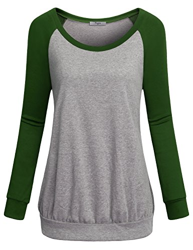 Cestyle Tunic Shirts For Women To Wear With Leggings, Juniors Simple Long Sleeve Crewneck Unisex Jogger Pullover Tops Sports Knitted Jersey Sweatshirts Green XX-Large