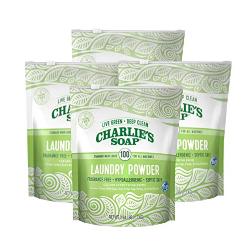 - Charlie's Soap - Fragrance Free Laundry Powder - 100 Loads (Four 100-load Bags, 400 Total Loads)