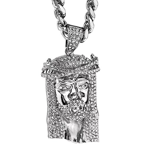 Iced Out Jesus Piece - Jesus Piece Iced-Out Face Head 30 Inch x 10mm Cuban Link Chain Silver Tone Heavy Hip Hop Necklace
