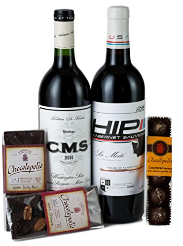 Hedges Family Estate Washington Reds and Chocolate Gift Set with Seattle-based Chocolopolis Selection, 2 X 750 mL