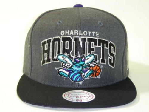 Mitchell and Ness NBA Charlotte Hornets Arch Dark Gray 2 Tone Retro Snapback (Hornets Snap)