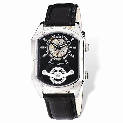 Charles-Hubert, Paris Men's 3965-W Premium Collection Analog Display Mechanical Hand Wind Black Watch