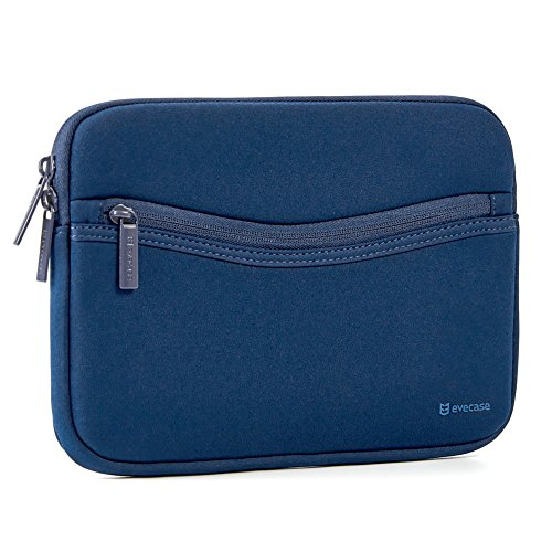iPad Sleeve Case, Evecase Smile Portfolio Neoprene Carrying Sleeve Case Bag with Accessory Pocket for Apple iPad Pro 9.7, iPad Air, iPad 4 3 2 - Navy (Neoprene Case)