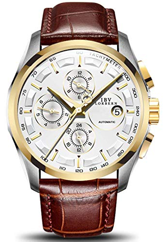 Swiss Brands Men's Automatic Self-Wind Watch Stainless Steel and with Brown Genuine Leather Band (Gold White) Automatic Chronograph Swiss Wrist Watch