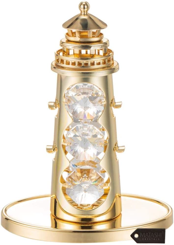 Matashi 24K Gold Plated Lighthouse Home Decor Ornament with Crystals Tabletop Showpiece for Living Room Gift for Mother's Day Birthday Christmas Valentine's Day Anniversary