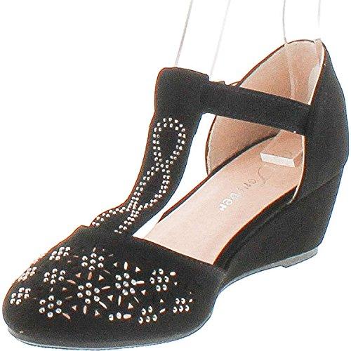 Voor Altijd Womens Blaze-83 T Strap Fashion Wedge Sandalen Zwart