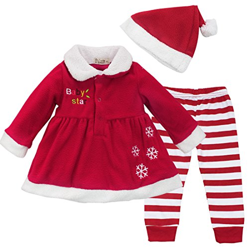 iiniim Baby Girl Christmas Xmas Dress Top + Striped Pants + Hat 3Pcs Outfit Set (12-18 Months) (Reindeer Baby Costume)