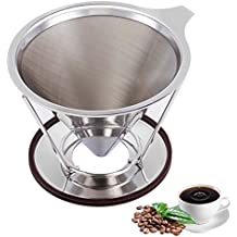 Pour Over Coffee Dripper Clever Coffee Dripper Reusable Coffee Filter Single Cup Pour Over Coffee Maker Stainless Steel Permanent Drip Cone 1-4 Cup for Osaka Chemex Hario Carafes with Stand Holder