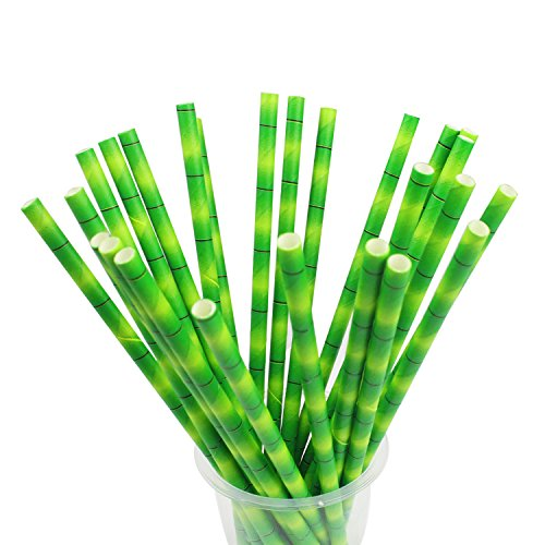 Bamboo Drink - WeiMeet Drinking Straws 150 Pack Biodegradable Paper Drinking Straws with Bamboo Print for Drinks Juices Smoothies Shakes Party Supplies