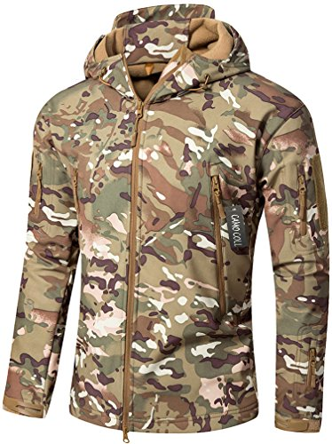 Camo Coll Men's Outdoor Soft Shell Hooded Tactical Jacket (L, - Windproof Parka Camouflage