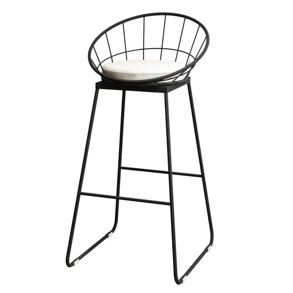 Black leg Grey cushion NLLPZ-STOOL Home Furniture Fashion Wrought Iron Metal Bracket Bar Stool Kitchen Breakfast Stool Chair with Backrest Sponge Pad Design (Sitting Height  75CM) (color   gold Leg, Size   Grey Cushion)