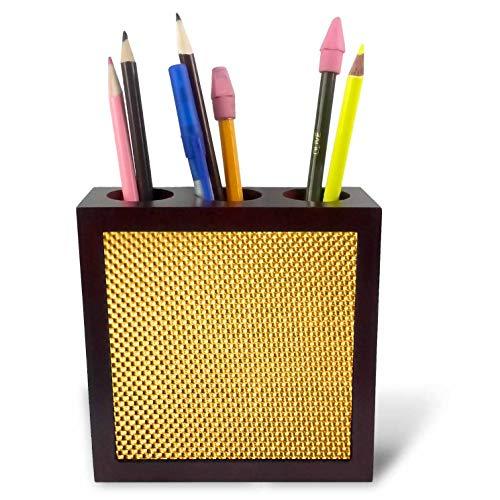 3dRose Lens Art by Florene - Everything Gold - Image of Small Gold Beaded Pattern - 5 inch Tile Pen Holder (Beaded Pen)