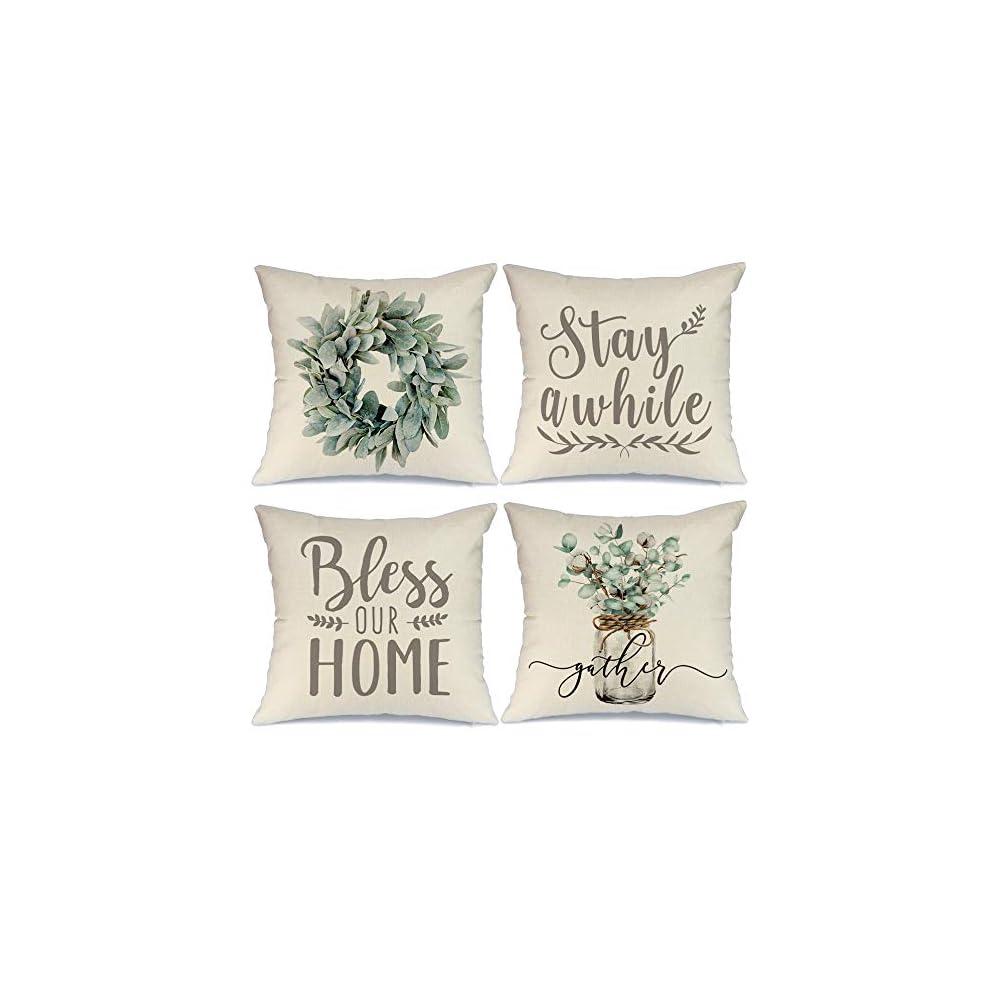 Farmhouse Decor Pillow Covers 18x18 Inch Set of 4 Lamb's Ear Grapevine Wreath Eucalyptus Vase Decorative Throw Pillow…