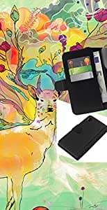 All Phone Most Case / Oferta Especial Cáscara Funda de cuero Monedero Cubierta de proteccion Caso / Wallet Case for Sony Xperia Z2 D6502 // Psychedelic Deer Pattern