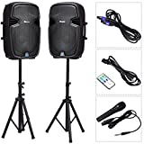 Suono 15'' Dual Powered Speakers, 3000W 2-Way Portable Loud Speaker With Stands and Microphone (Active+Passive Speakers + Stands)
