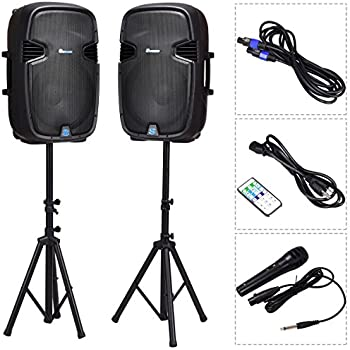 Costway 2-way Powered Speakers w/Bluetooth, Mic, Speaker Stands and Control (15 Inch)