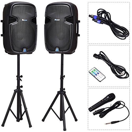 Costway 2-way Powered Speakers w/Bluetooth, Mic, Speaker Stands and Control (15 Inch) (Best 15 Inch Powered Speakers)