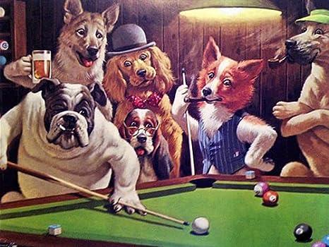 El - diseño de perritos jugando de billar - sobre bastidor 40,64 cm x 50,8 cm lienzo sobre marco de madera: Amazon.es: Hogar