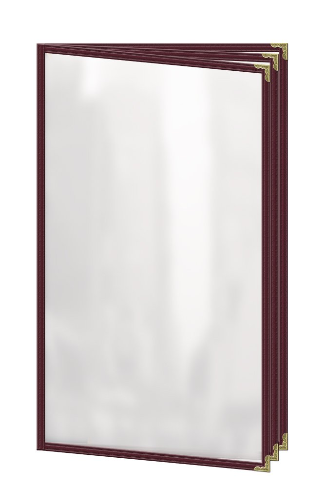 Risch TETB 8.5X14 DS #08 Deluxe Sewn Menu Cover, Café Style, 6 View Booklet, 8.5'' x 14'', Maroon Leatherette Trim (Pack of 24)