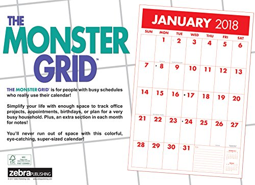 Monster Grid 2018 Wall Calendar