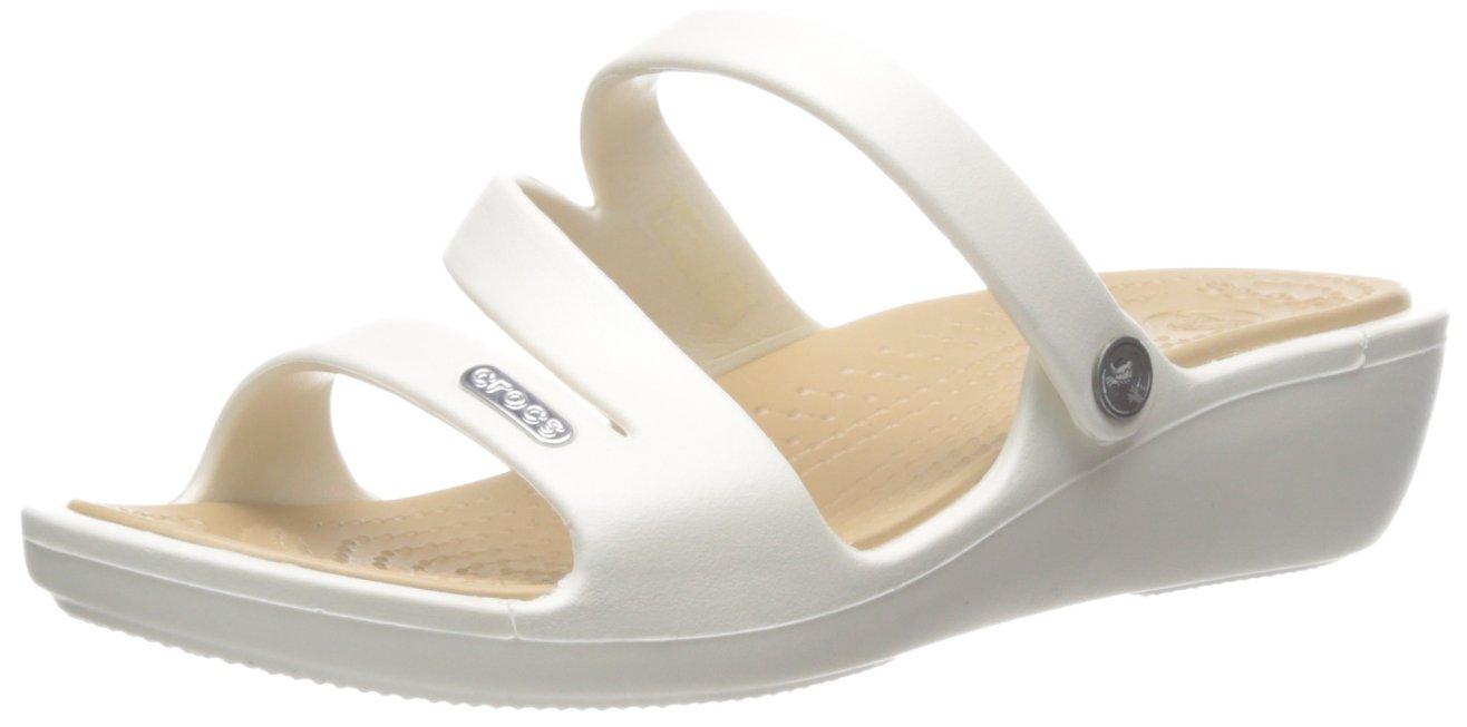 Crocs Women's Patricia Sandal,Oyster/Gold, 7 B(M) US