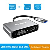 USB 3.0 to HDMI VGA Adapter, USB to HDMI VGA Sync Output, 1080P Video Graphics Converter for Multiple Monitors, Support Windows 7/8/10 ONLY[ NO MAC OS & Linux & VISTA ]