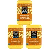 One With Nature Dead Sea Minerals Lemon Sage Soap 3 Pack with Argan Oil, Shea Butter