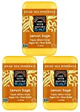 sea glow cleaner - DEAD SEA SALT Lemon Sage SOAP 3PK - Shea Butter, Argan Oil, Magnesium, Sulfur. All Skin Types, Problem Skin. Acne Treatment, Eczema, Psoriasis, Antibacterial, Therapeutic, Lemon Scent
