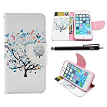 iPhone SE Case, iPhone 5S Case Wallet, iYCK Premium PU Leather Flip Carrying Magnetic Closure Protective Shell Wallet Case Cover for iPhone 5/5S/SE/5SE with Kickstand Stand - Butterfly Floral Tree