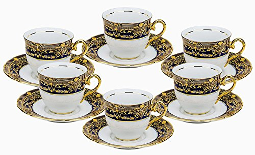 Euro Porcelain (Euro Porcelain 12-pc. Tea Cup Coffee Set, Vintage Cobalt Blue Ornament, 24K Gold-plated Accents, Premium Bone China 6 Cups (8 oz) and Saucers, Original Czech Tableware)