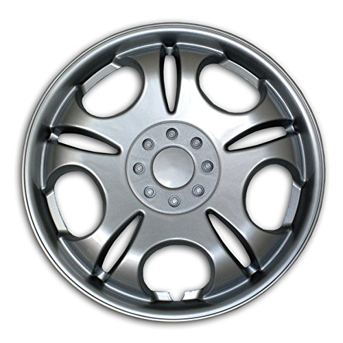 TuningPros WSC2-032S15 Hubcaps Wheel Skin Cover Type 2 15-Inches Silver Set of 4 (Car Rims 15 Inch Set Of 4 compare prices)