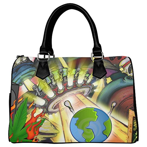 Jasonea Women Boston Handbag Top Handle Handbag Satchel World Hip Hop Beat Basad109436