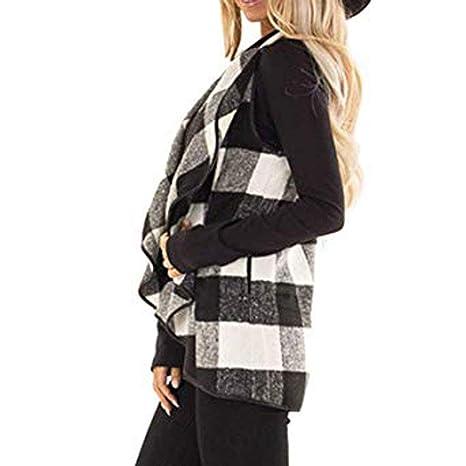Dressin Womens Sleeveless Open Front Hem Plaid Vest Cardigan Jacket