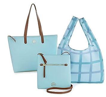 Amazon.com  JOY Mangano Luxe Genuine Leather Handbag, Chic Crossbody Plus  Shopper Tote ~Crystal Blue  One Stop Shop 23 7 84cc70542b