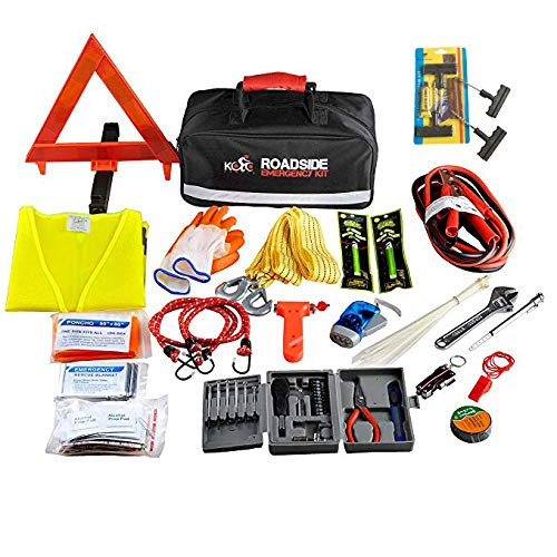 Kolo Sports Premium Auto Emergency Kit 156-Piece Multipurpose Emergency Pack - Great for Automotive Roadside Assistance & First Aid Set - The Ultimate All-in-One Solution - Car Kit Accessory