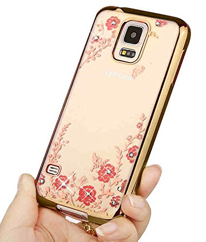 (Samsung S5 Case,Luxury Stylish Design Electroplated Slim Fit Metallic luster TPU Case Cover for Samsung Galaxy S5 - Flower Gold)