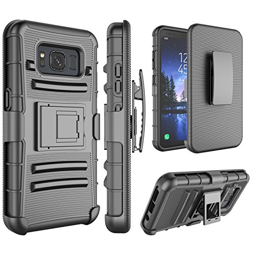 (Galaxy S8 Active Case, S8 Active Holsters Clips Case, Jeylly [Belt Clip] Built-in Kickstand Heavy Duty Full Body Shock Absorbing Hard Rugged Case Shield for AT&T Samsung Galaxy S8 Active - Black)