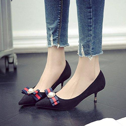 Zapatos De Señaló Talón Zapatos Alto De Finos Solo Negro Con Adolescentes Mujer Zapatos Chun 5Cm GAOLIM vqSOPP