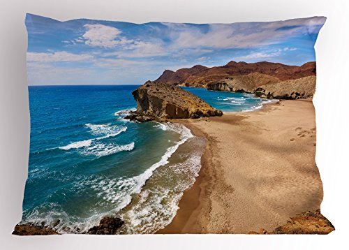 Ambesonne Landscape Pillow Sham, Ocean View Tranquil Beach Cabo De Gata Spain Coastal Photo Scenic Summer Scenery, Decorative Standard Queen Size Printed Pillowcase, 30 X 20 Inches, Blue Brown by Ambesonne