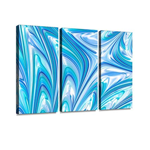 (Teal Lilac Pearl Oyster Seashell Wave Star Swirl Pastel Blue Purple Mint Green Pattern Wall Art Painting Pictures Print On Canvas Stretched & Framed Artworks Modern Hanging Posters Home Decor 3PANEL)