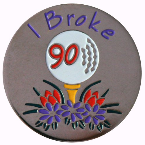 I Broke 90 Achievement Golf Ball Marker with Matching Hat Clip