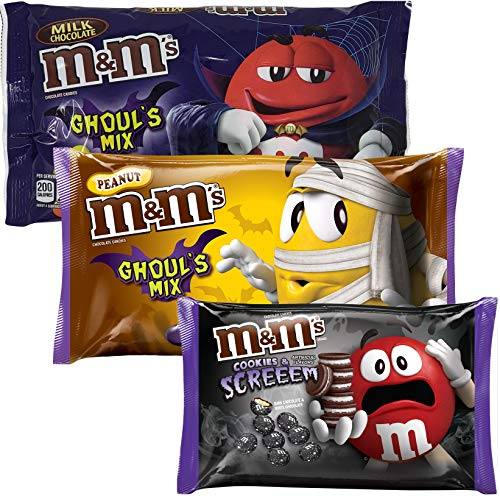 (M&M Ghouls Mix Halloween Candy Assortment Variety - Spooky Colors Milk Chocolate, Peanut, Cookies and Screeem - Scary Fun Seasonal MM Candies (3 Bags Total) - 8.0 oz -11.4 oz)