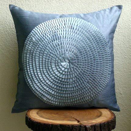 Designer Grey Decorative Pillows Cover, Ribbon Art Work Medallion Pillows Cover, 14