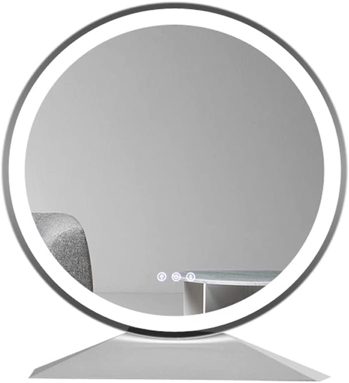 Amazon Com Amznevo Hollywood Makeup Vanity Lighted Mirror Dressing Tabletop Round Makeup Mirror With Touch Control Dimmable Led Light And 3 Color Lighting Modes White Base Frameless Furniture Decor