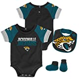 NFL Jacksonville Jaguars Unisex Newborn & Infant 50 yd Dash Bodysuit, Bib & Bootie Set, Black, 3-6 Months