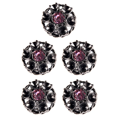 Mibo Zinc Diecasted Button Snowflake Design with Rope Rim and Coloured Rhinestone Gunmetal / Pink Stone 36 Line 5 Pack