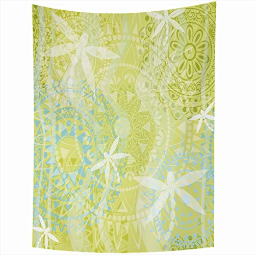 Ahawoso Tapestry 60x90 Inch Mendie Pattern Dragonfly Abstract Yoga Layer Green Floral India Sari Ethnic Bright Wall Hanging Home Decor for Living Room Bedroom Dorm
