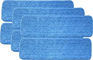 """Turkey Creek Essentials 6 Microfiber Mop Pads 18 Inch Washable Commercial Quality, Replacement Refills for Hook & Loop Flat Mops - Use Wet or Dry, 18"""" L X 5.5"""" W, 6Pk"""